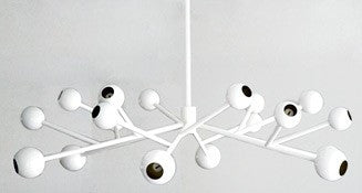 White Iron Globe Chandelier