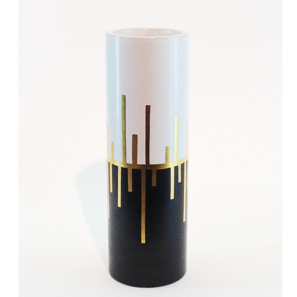 Richard Mishaan Trio Deco Vase in Black White and Gold