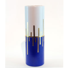 Richard Mishaan Trio Deco Vase in Blue White and Gold