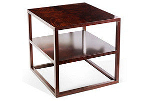 Mahogany Veneer Two Teir Side Table
