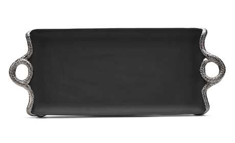 Snake Platinum Rectangular Tray, Medium