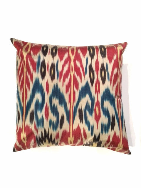 Navy, Red and Yellow Ikat Pillow