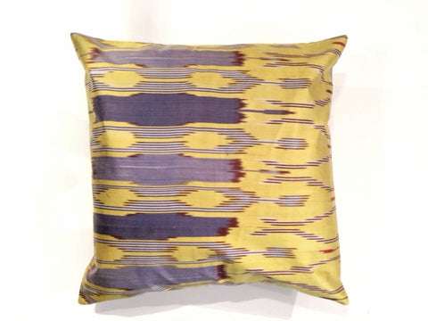 Yellow and Blue Ikat Pillow