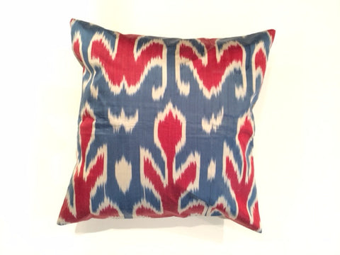 Navy and Red Ikat Pillow