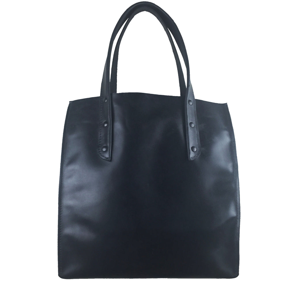 Curved Open Tote - Waxy Black with Black Hardware - Admonish