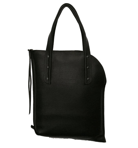 Black Curved Zipper Tote