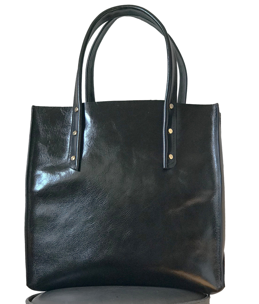 Shiny Black Curved Open Tote - Admonish