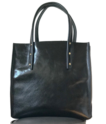 Shiny Black Curved Open Tote