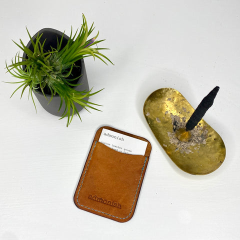 One-Pocket Card Wallet-tan leather/blue thread
