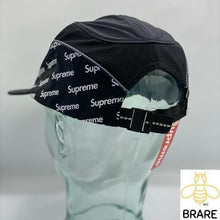 Load image into Gallery viewer, Supreme Black Diagonal Logo Side Panel Camp Mesh Cap