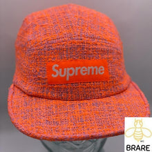 Load image into Gallery viewer, Supreme Bouclé Boucle Camp Cap Box Logo Pink Coral SS18