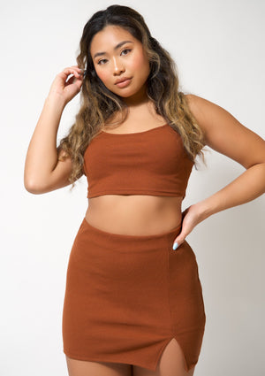 Cami Top and Skirt Set in Rust