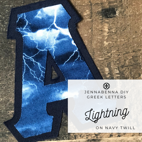 Lightning Fabric On Navy Twill - Sorority Apparel