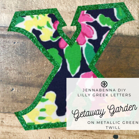 Lilly Getaway Garden On Metallic Green Twill - JennaBenna Sorority