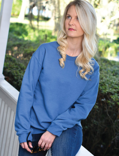 Ash Crewneck Sweatshirt Ash Lilly Illumination On Metallic Aqua Twill - JennaBenna Sorority