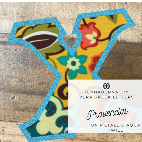 Vera Provencial On Metallic Aqua Twill - JennaBenna Sorority