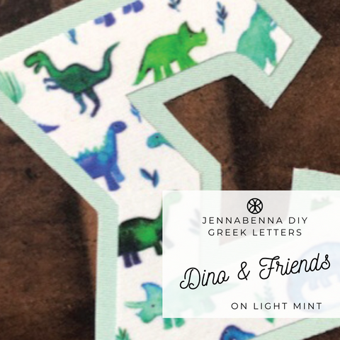 Dino Friends Fabric on LIght Mint Twill - JennaBenna Sorority