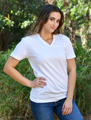 Tahiti Blue V Neck With Color Luscious Colorfiles On Gold Twill - JennaBenna Sorority