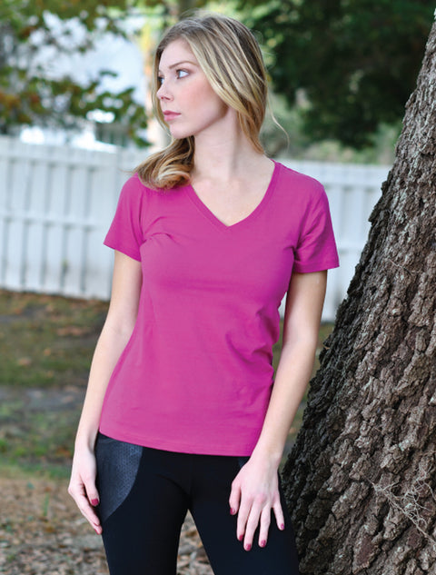 Coral Ladies Featherweight V-Neck T-Shirt + Cactus Patch Succulents - JennaBenna Sorority