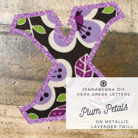 Vera Plum Petals On Metallic Lavender Twill - Sorority Apparel
