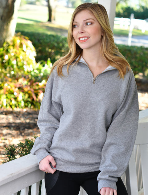 Forest Green Quarter Zip With Hand Glitterized Marble Majestic White Gold On Grey Twill - JennaBenna Sorority