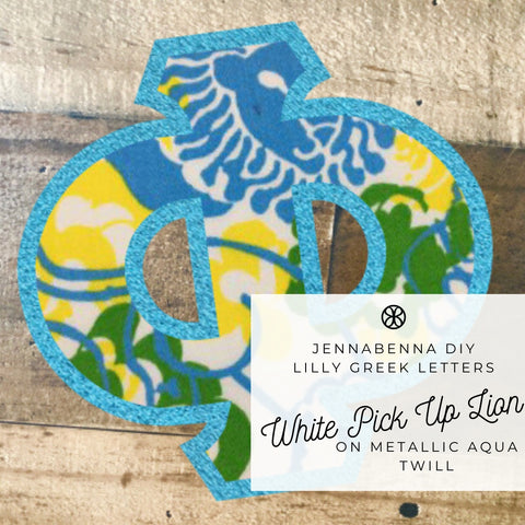 Lilly White Pick Up Lion On Metallic Aqua Twill - Sorority Apparel