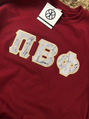 Cardinal Red Crewneck Sweatshirt With Marble Frosted On Metallic Gold Twill - JennaBenna Sorority