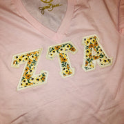 Light Pink V-Neck With Floral Multi Golden On Cream Twill - JennaBenna Sorority