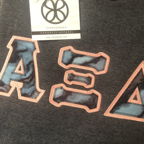Dark Heather Hoodie With Marble Black And Blue On Light Coral Twill - Sorority Apparel