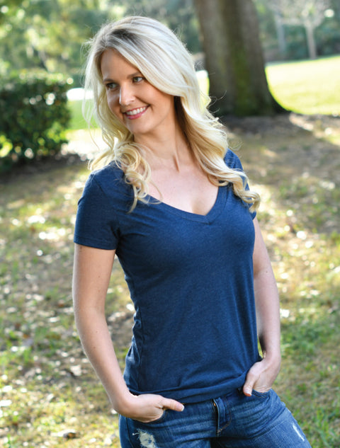Lush Deep V-Neck With Amy Butler Daisy Shine On Graphite Twill - JennaBenna Sorority