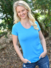 White Bella Ladies Triblend Deep Slight Scoop Neck Tee + Lilly Blue Under The Palms - JennaBenna Sorority