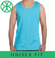 Lagoon Blue Comfort Colors Unisex Tank Top + Lilly Multi Clam Jam - Sorority Apparel