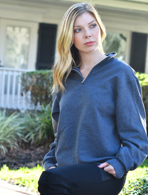 Black Heather Cadet Collar Quarter Zip With Galaxy Coral Clouds On Cardinal Red Twill - JennaBenna Sorority
