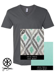 Asphalt V-Neck With Indie Ikat Fabric On Light Mint Twill - JennaBenna Sorority