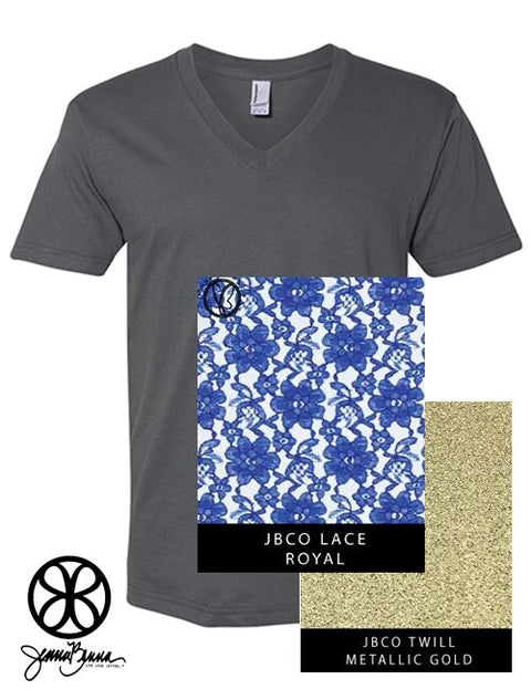Asphalt V-Neck With Royal Lace Fabric On Metallic Gold Twill - Sorority Apparel
