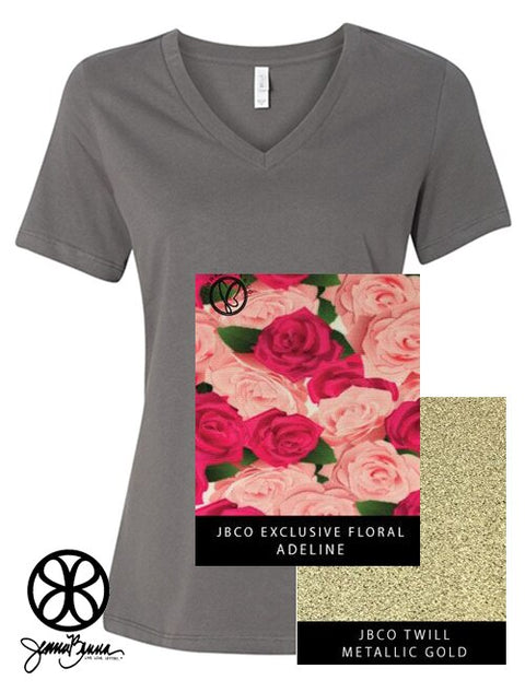 Asphalt V-Neck With Floral Adeline On Metallic Gold Twill - JennaBenna Sorority
