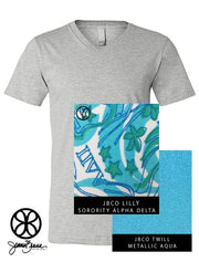 Athletic Heather V-Neck With Lilly Sorority Alpha Delta Pi On Metallic Aqua Twill - JennaBenna Sorority