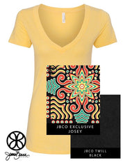 Banana Cream Deep V-Neck With Indie Josey On Black Twill - Sorority Apparel