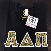 Black V-Neck With Sunflower Heaven Fabric On White Twill - Sorority Apparel