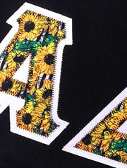 Black V-Neck With Sunflower Heaven Fabric On White Twill - JennaBenna Sorority