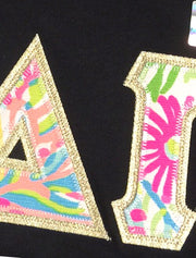 Black V-Neck With Lilly Loves Coral On Metallic Gold Twill - Sorority Apparel
