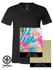 Black V-Neck With Lilly Loves Coral On Metallic Gold Twill - JennaBenna Sorority