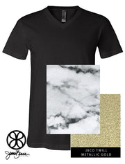 Black V-Neck With Bianco Venato Marble On Metallic Gold Twill - JennaBenna Sorority