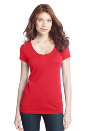 Bright Coral District Ladies Rolled Cuff Scoopneck Tee + Spiked Coral Floral - Sorority Apparel
