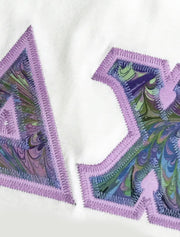 White Crewneck With Color Luscious Ocean Splash On Lavender Twill - Sorority Apparel