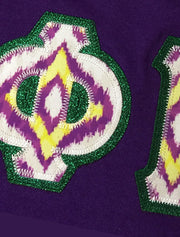 Purple Crewneck With Ikat Purple And Gold On Metallic Green Twill - JennaBenna Sorority
