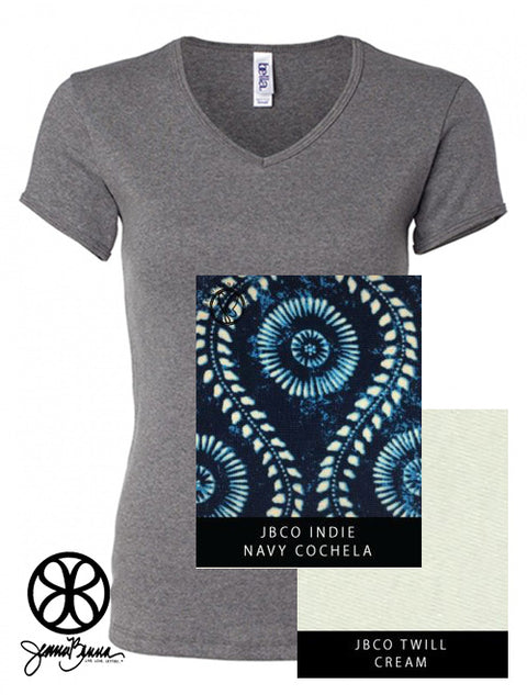 Grey Bella Ladies Fit Baby Rib Fitted V-Neck + Navy Coachella - Sorority Apparel