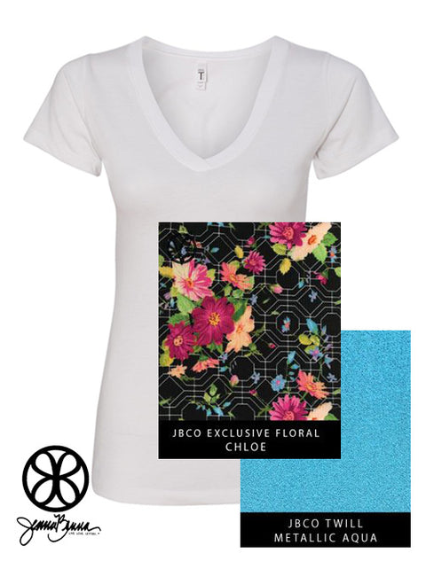 White Next Level Ladies Fit Ideal V-Neck Tee + Chloe Floral - JennaBenna Sorority