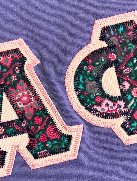 Violet Crewneck With Floral Cottage Pink On Light Pink Twill - JennaBenna Sorority