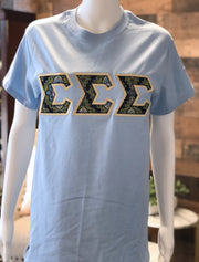 Light Blue Crewneck With Vera Cambridge On Metallic Gold Twill - JennaBenna Sorority